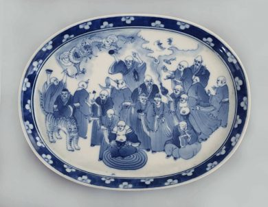 Chinese Export Blue and White Oval Tray
