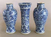 Chinese Kangxi Three Piece Blue and White Garniture Set