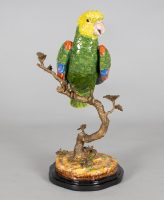 Chinese Porcelain Parrot on Bronze Tree Trunk
