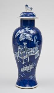 Chinese Cobalt Blue Baluster Vase & Lid, Circa 1890