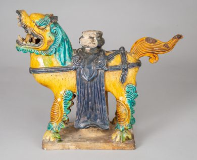 Chinese Sancai Glazed Ceramic Guardian Lion