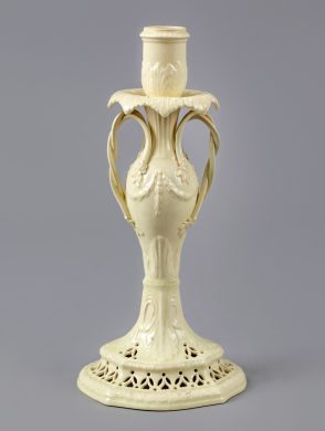Neoclassical Creamware Candlestick with Twisted Handles