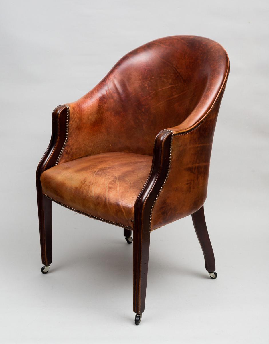 Fabulous Antique Edwardian Tub Chair Antique Mahogany Leather Tub Chair Creativecarmelina Interior Chair Design Creativecarmelinacom