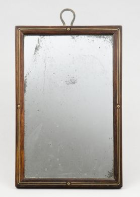 Antique English Brass Inlaid Traveling Mirror