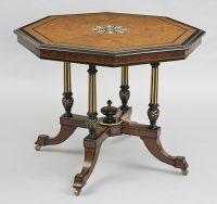 Antique English Burl Elm & Ebonized Inlaid Center Table, Circa 1860