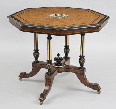 Antique English Burl Elm & Ebonized Inlaid Center Table, Circa 1860
