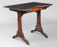 English Antique Kidney Shaped Writing Table-Main Angled View