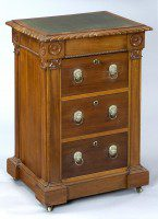 English Antique Late Regency Library Cabinet/Desk-Main Angled View
