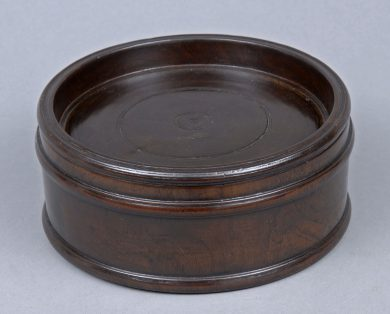 Antique Lignum Vitae Round Box, 18th Century