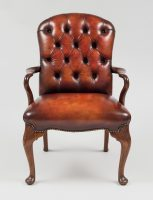 English Antique Mahogany & Leather Shepherd's Crook Armchair-Main Front View