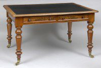 English Antique Mahogany Writing Table-Main Angled View