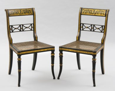 English Antique Pair Regency Gilded & Caned Side Chairs