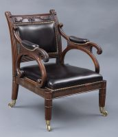 English Antique Period Regency Mahogany & Leather Library Armchair, Circa 1820-Main Angled View