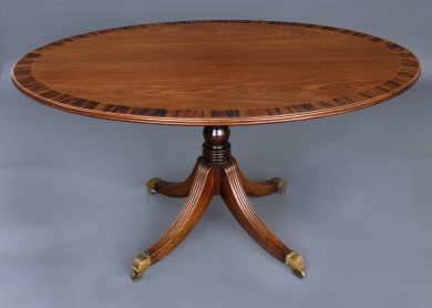 English Antique Regency Period Oval Mahogany Center Table, Circa 1810