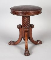 English Antique Regency Revolving Piano Stool