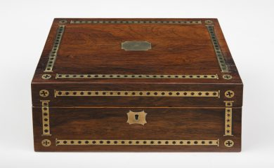 Regency Rosewood Brass Inlaid Dressing Case, Circa 1820