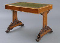 English Antique Small Victorian Partners Writing Table-Main Angled View