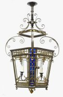 English Antique Victorian Bronze Lantern-Main Angled View