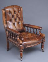 English Antique Victorian Mahogany and Leather Library Armchair, Circa 1860-Main Angled View
