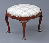 English Antique Victorian Mahogany Stool-Main Angled View