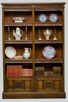 Circa 1870 English Antique Victorian Walnut Open Bookcase-Front Main View