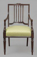 English Mahogany Open Armchair, Circa 1860-Front View