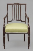 English Mahogany Open Armchair, Circa 1860