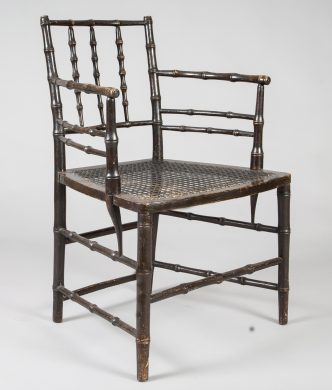 English Antique Regency Ebonized Faux-Bamboo Armchair, Circa 1825