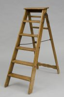 "English Victorian Pine Step Ladder Labeled ""Simplex Ladder""-Front View Angled"