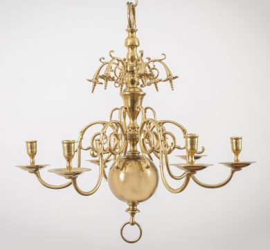 Flemish Brass Six-Arm Chandelier