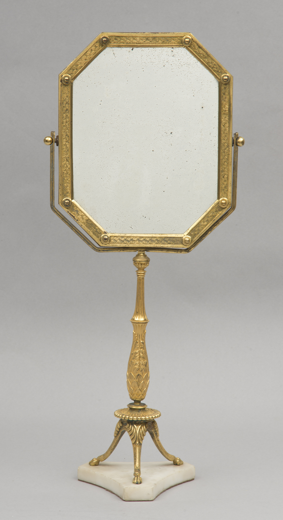 French Gilded Bronze Adjustable Antique Dressing Mirror On