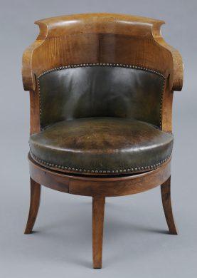French Antique Restauration Period Walnut Swivel Desk Chair, Circa 1820
