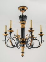French Louis XVI Style Ebonized & Gilded Chandelier