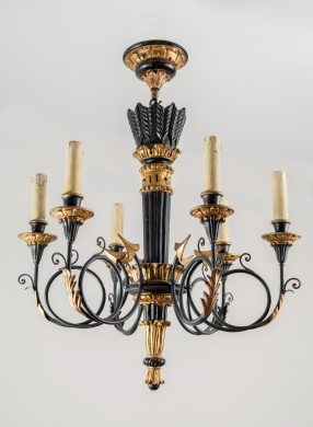 French Louis XVI Style Ebonized & Gilded Chandelier