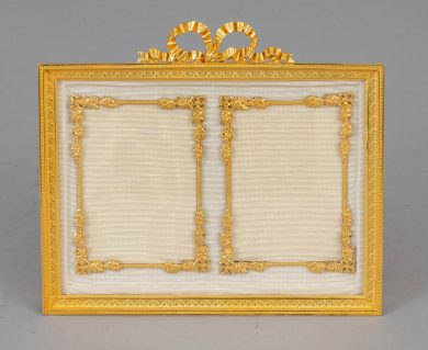 French Gilded Bronze Double Photo Picture Frame