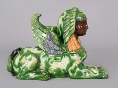 French Majolica Winged Sphinx Candlestick