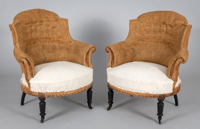 French Napoleon III Arched Back Armchairs, A Pair