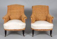 Pair French Napoleon III Armchairs