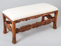 French Carved Walnut Bench