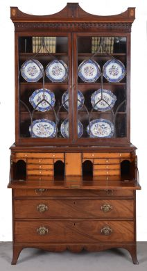 Fine George III Mahogany Library Secretaire Bookcase, 18th Century