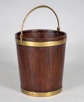 George III Brass-Banded Mahogany Peat Bucket
