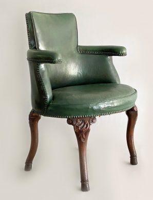 George III Mahogany and Leather Armchair