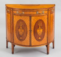 George III Satinwood Demi-Lune Console Cabinet-Front View