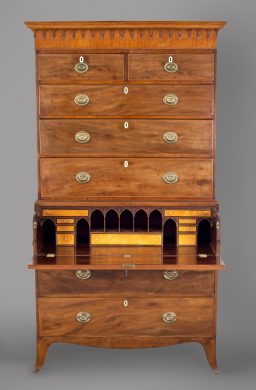 George III Period Mahogany Secretaire Chest on Chest