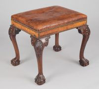 George III Style Mahogany Leather Antique Stool Shell Carved Cabriole Legs-Main Angled View
