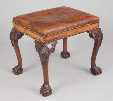 George III Style Mahogany and Leather Stool