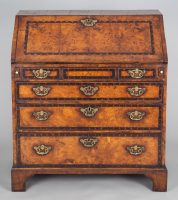 George III Yew Wood and Oyster Veneered Slant Front Desk-Front Angle