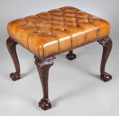 Georgian Style Mahogany and Leather Stool