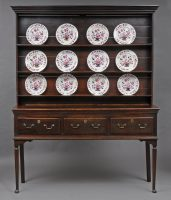 English Georgian Welsh Style Oak Dresser and Plate Rack, 18th Century-Front View