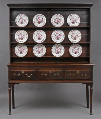 English Georgian Welsh Style Oak Dresser and Plate Rack, 18th Century